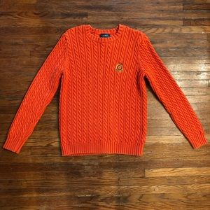 Ralph Lauren - orange cable knit crew neck sweater